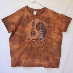 Custom Ying Yang Guitar Tie Dye T-Shirt